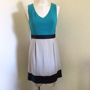Kensie Color Block Vegan Leather Trim Dress